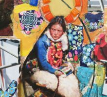 """Women Working"" Colorful Layered Mixed Media Collage Sticker"