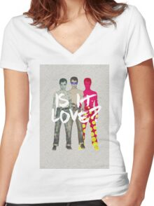 man Women's Fitted V-Neck T-Shirt
