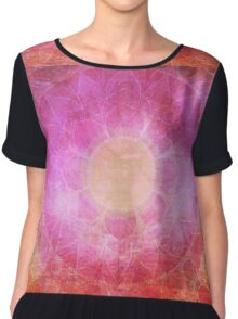 Pink yoga watercolor mandala Chiffon Top