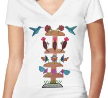 Mushroom Tower Fuel Station Women's Fitted V-Neck T-Shirt