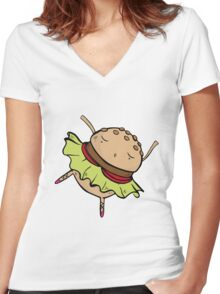 Dancing Burger Women's Fitted V-Neck T-Shirt