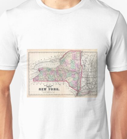 Vintage Map of New York (1873) Unisex T-Shirt
