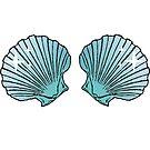 Mermaid Shells Green Sparkles by GlitterZombie