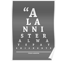 Tyrion Lannister, Eye Chart Poster