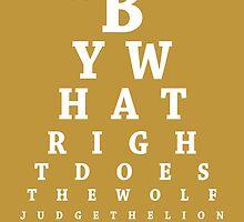 Jaime Lannister, Eye Chart by Alex Boatman