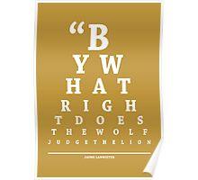 Jaime Lannister, Eye Chart Poster