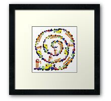 Child's hand draw cars.Funny Doodle spiral composition Framed Print