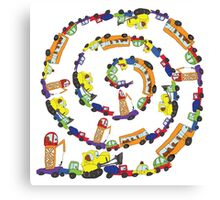 Child's hand draw cars.Funny Doodle spiral composition Canvas Print