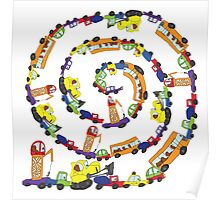 Child's hand draw cars.Funny Doodle spiral composition Poster