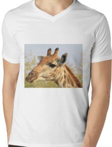 Giraffe - African Wildlife Background - Colorful Solitude Mens V-Neck T-Shirt