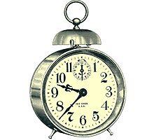 antique typographic vintage alarm clock by surgedesigns
