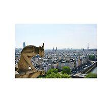 Gargoyle eyeing the Eiffel tower  by flourishandglos