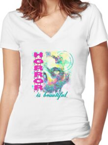 HORROR IS SO PRETTY Women's Fitted V-Neck T-Shirt