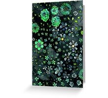 Green Small Flowers Greeting Card