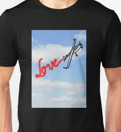 Love in Clouds with Airplane Unisex T-Shirt