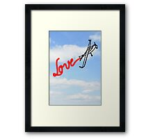 Love in Clouds with Airplane Framed Print