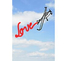 Love in Clouds with Airplane Photographic Print