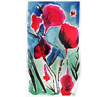 Red flowers ink and watercolor painting Poster