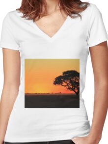 Sunset Gold - Nature Background - African Peace Women's Fitted V-Neck T-Shirt