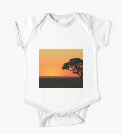 Sunset Gold - Nature Background - African Peace One Piece - Short Sleeve