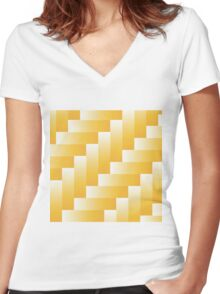 yellow parquet background Women's Fitted V-Neck T-Shirt