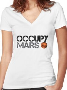 Occupy Mars - Space Planet - SpaceX Women's Fitted V-Neck T-Shirt