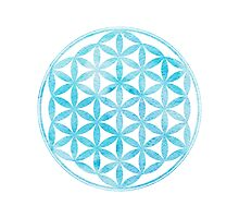 Watercolor light blue Flower of Life Photographic Print