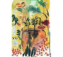 Garden vase watercolor  Photographic Print