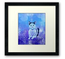 Tuxedo Kitty Galaxy Framed Print
