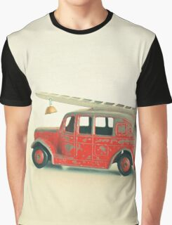 Red Fire Engine Graphic T-Shirt