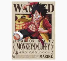 Monkey D. Luffy wanted. 400 mil New world One Piece - Short Sleeve