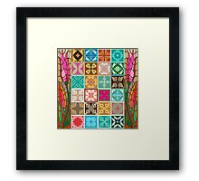 Colorful mosaic with abstract geometrical flowers and tulips. Framed Print