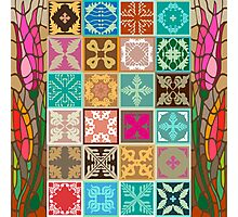 Colorful mosaic with abstract geometrical flowers and tulips. Photographic Print