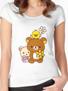 Rilakkuma and Friends Women's Fitted Scoop T-Shirt