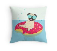 donut pug - lifebuoy Throw Pillow