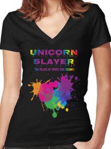 Unicorn Slayer T Shirt Women's Fitted V-Neck T-Shirt
