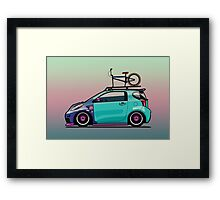 Slammed Toyota Scion iQ With BMX Bike Framed Print