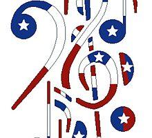 USA Flag Musical Notes by Randy Freeman