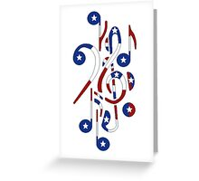 USA Flag Musical Notes Greeting Card