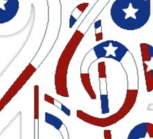 USA Flag Musical Notes Sticker