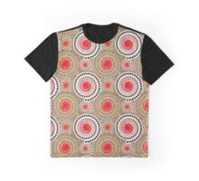 Starbursts and Pinwheels, Taupe, Red, White Graphic T-Shirt
