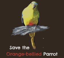 Orange-bellied Parrot t-shirt (dark colours) by OBparrot