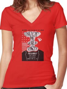 Mr. Robot End of the World Party Tee Women's Fitted V-Neck T-Shirt