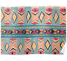 Tribal Motifs in Aqua, Pink, Yellow, Sky Blue and Black Poster