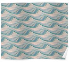 Ocean Waves in Water Colors of Aqua, Seafoam and Blue Poster