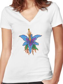 Beautiful Blue Orchid Women's Fitted V-Neck T-Shirt