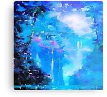 Nature, water fall,lake,water color,painting,shades of blue, Metal Print