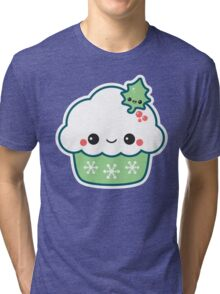 Green Christmas Cupcake Tri-blend T-Shirt