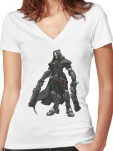 Overwatch - Reaper Pose Women's Fitted V-Neck T-Shirt