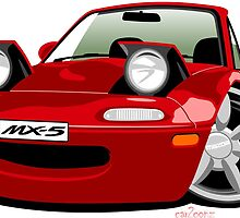Mazda MX-5 caricature red by car2oonz